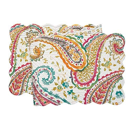 Paisley Table Runner - C&F Home Adalynn Floral Botanical Spring Summer Paisley Reversible Cotton Quilted Reversible Table Runner 1451 Table Runner Pink