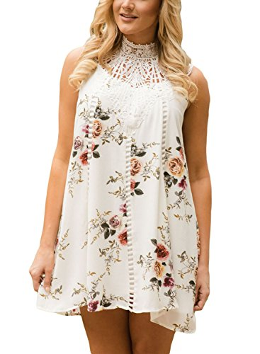 Dokotoo Womens Casual Bohemian Chiffon Floral Mini Shift Dresses White Large