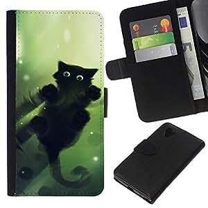 Stuss Case / Funda Carcasa PU de Cuero - Lindo gato Espejo de Agua Reflexión Negro - LG Nexus 5 D820 D821