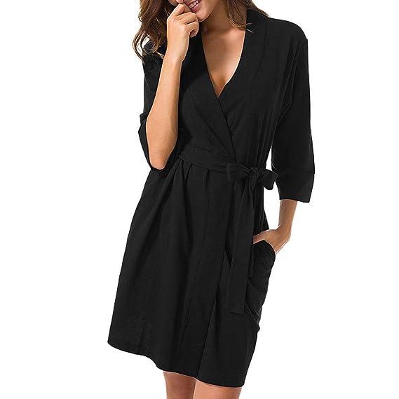 Luckycat Vestido de Dormir sólido de Las Mujeres del Vendaje del Traje de Dormir de la