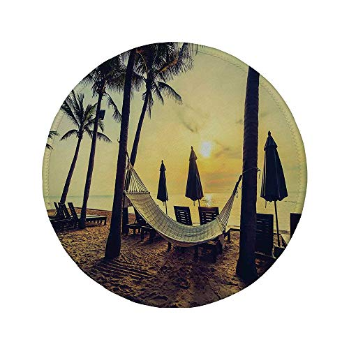 Non-Slip Rubber Round Mouse Pad,Tropical,Photo of Empty Hammock on The Beach at Sunrise Time with Coconut Palm Tree Exotic Print Decorative,Multi,7.87