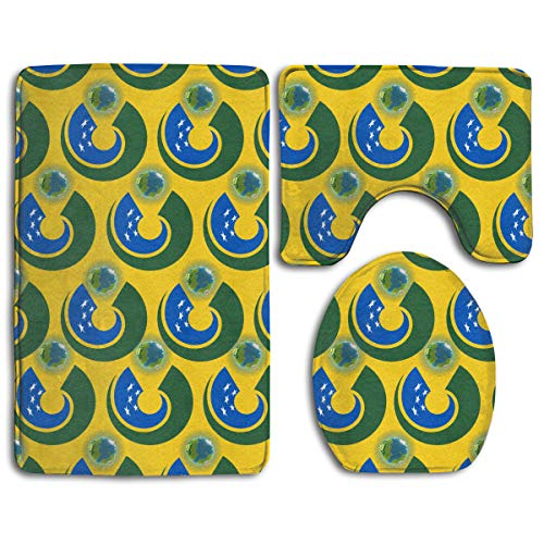 - CCBUTBA Bathroom Rug Mats Set 3 Piece Solomon Islands Flag Eat The Earth Extra Soft Bath Rugs (20