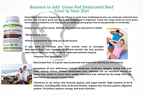 N'More Desiccated Liver Capsules, Certified 100% Grass Fed Undefatted Argentine Natural Beef Liver Supplements, 120 Capsules, 750mg per Capsule by N' More (Image #5)