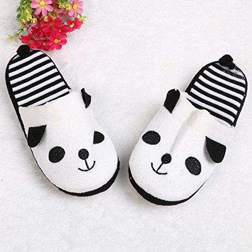Ularma Algodón de zapatillas, Zapatillas de casa de dibujos animados Panda raya suave blanco
