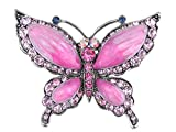 Alilang Rose Pink Czech Crystal Rhinestone Butterfly Pin Brooch Hand Painted Enamel