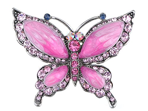 - Alilang Rose Pink Czech Crystal Rhinestone Butterfly Pin Brooch Hand Painted Enamel