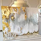 Hand-painted Gold Abstract Art Textured Oil Painting With Silver, White and Gray Colors
