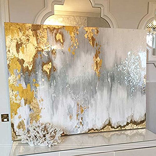 Hand-painted Gold Abstract Art Textured Oil Painting With Silver, White and Gray Colors by Fchen Art