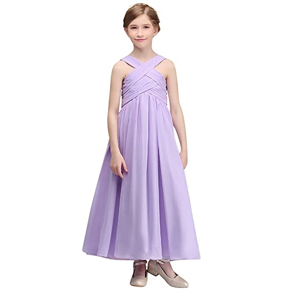 510ae99de89b Flower Girls Halter Lace Tulle Dress Bridesmaid Party Princess Prom Wedding  Christening Dress Floor Length Pageant Communion Prom Evening Gowns  Sleeveless ...