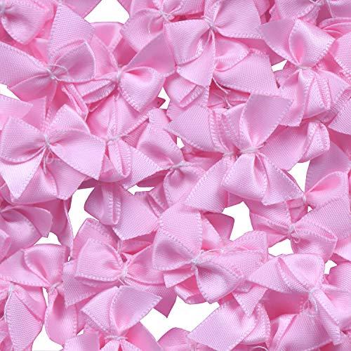 "YAKA 80Pcs Mini Satin Ribbon Bows Flowers 1"" x3/4""Appliques DIY Craft Scrapbooking DIY Embellishmen Projects,Bow Decorations (Pink)"