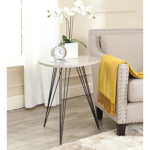 Safavieh Home Collection Wolcott Mid-Century Modern Taupe and Black Side Table