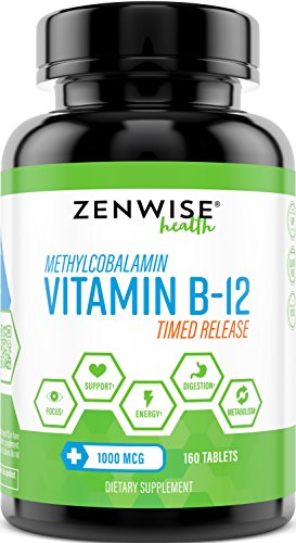 Vitamin B12-1000 MCG Supplement - Natural Energy Booster - Benefits Heart, Digestive and Brain Function - 160 Count Timed Release Tablets
