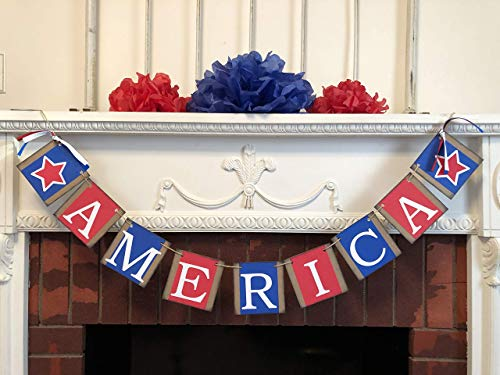 (Patriotic America Banner, Red White and Blue Fourth of July Decor, July 4th Garland, Patriotic Decor, Country Fourth of July banner)