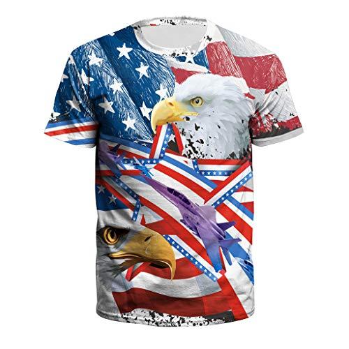 TOPUNDER New Men USA Flag T-Shirt Sexy 3D Print Short Sleeve Striped Summer Tops Tees -