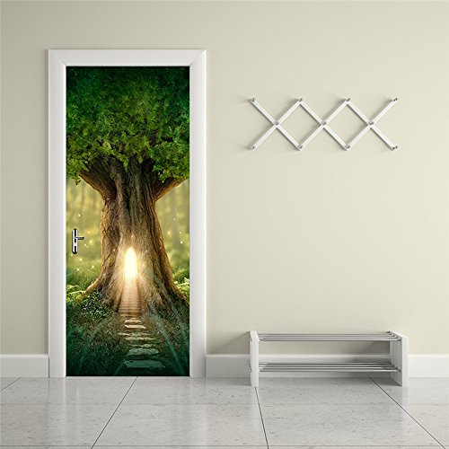 Nalichy Fantasy Tree Door Wall Stickers Murals Decal, Spring Forest Self-adhesive Waterproof Wallpaper Home Decor by Nalichy