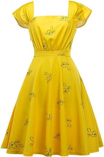 Idealsanxun Vestido De Fiesta Floral Con Manga Amarilla Brillante Clothing