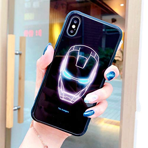 Half-Wrapped Case - Marvel Avengers Captain America Superman Batman Case for iPhone 7 8 Plus X Xs Max Xr Spiderman Comic Luminous Glass Phone case - by Aquaman Store - 1 PCs]()