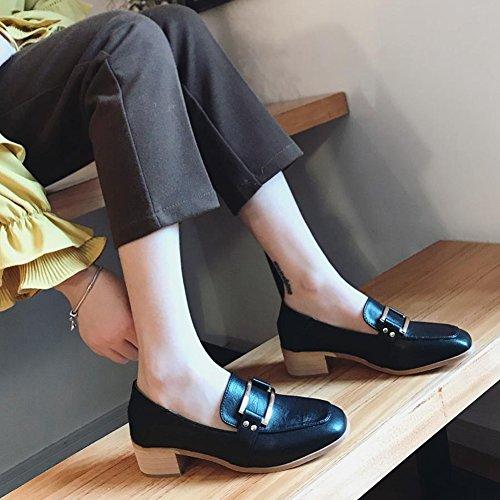 Mocassini Quadrati In Metallo Da Donna T-july Con Ruvide Scarpe Stile British Con Tacco Alto Nere