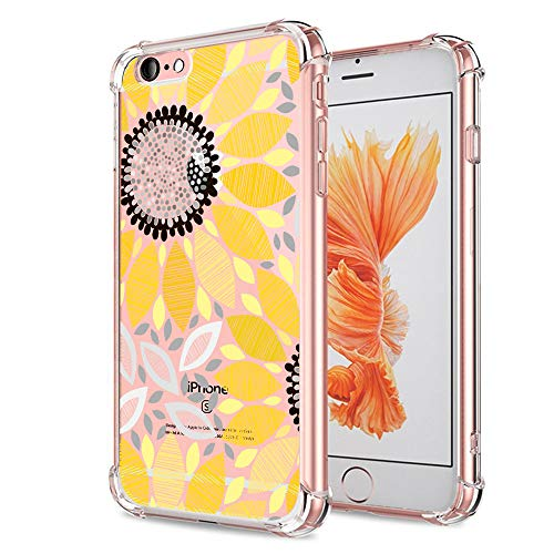 KIOMY Case for iPhone 6 iPhone 6S for Girls Boys Clear with Cute Sunflower Design Shockproof Bumper Protective Summer…
