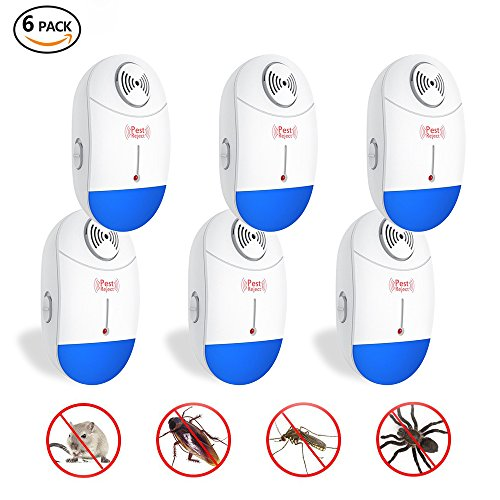 YIMALER Ultrasonic Pest Repeller Electronic Mouse& Mosquito Repellent Plug in 6 pack Pest Control for Mice Rat Bug Flea Roach Ant Fly -No More Insect Sprayers & Mouse Trap