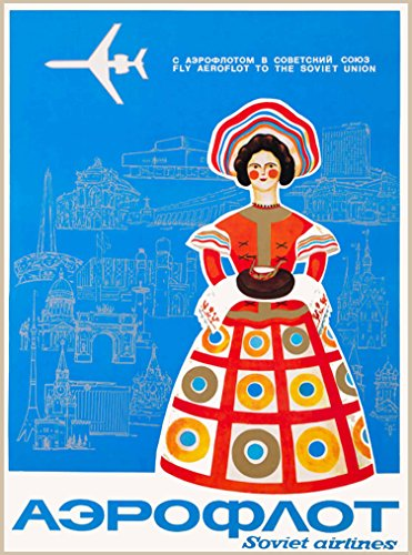 A SLICE IN TIME Soviet Airlines Soviet Union Russia Russian Vintage Travel Advertisement Poster 2