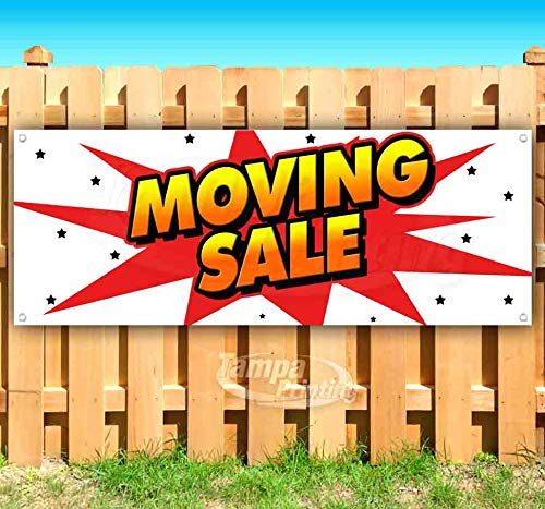Moving Sale 13 oz Heavy Duty Vinyl Banner Sign with Metal Grommets, New, Store, Advertising, Flag, (Many Sizes Available)
