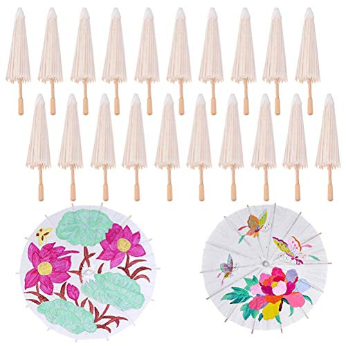 Xiangfeng 30 PCS Blank Paper Umbrella Japanese Chinese Umbrella Parasol Kids DIY Umbrella Projects,Dia 40cm