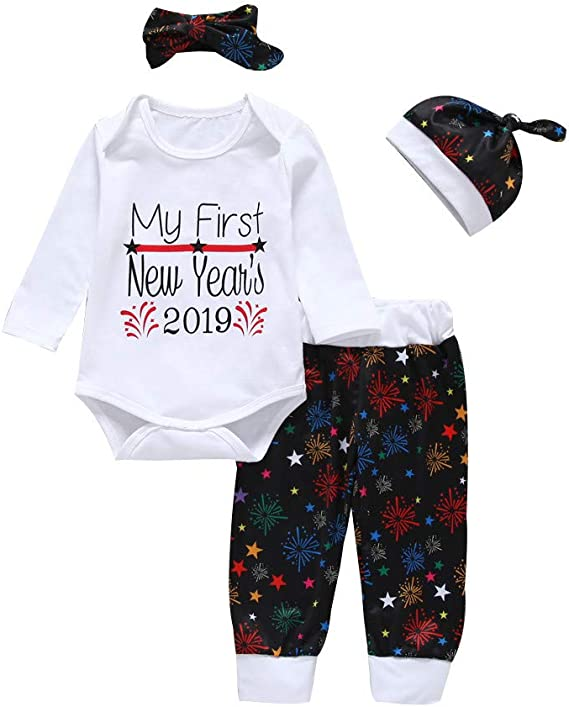 Jimmackey 4pcs Completini Fuochi D Artificio Stampa Pantaloni Beb/è Vestiti My First New Year Pagliaccetto Neonato Tutine Body