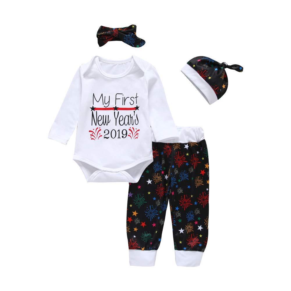 Jimmackey 4pcs Neonata Capodanno Pagliaccetto Letter Tutine Body + Fuochi D' Artificio Stampa Pantaloni + Cappello Fascia Completini