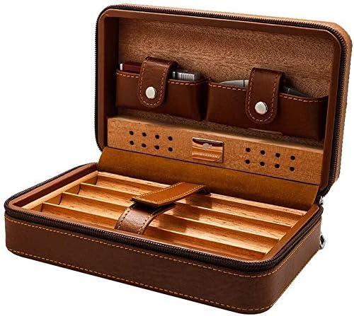 シガーカッターシーダーウッドでの喫煙セット/シガーヒュミドール旅行ポータブルシガレットケースレザー表面加湿メンズギフトボックスは4葉巻マルチカラーオプションを保持することができます裏地 (Color : Brown)