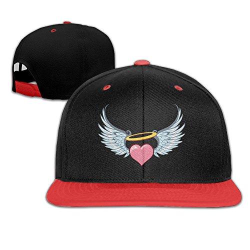 Heart Angel Wings Adjustable Running Red Hip Hop Baseball Cap For Girls