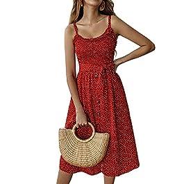 Yidarton Women Summer Dress Casual Spaghetti Strap A Line Ruffles Hem Beach Midi Dress with Belt (Z-Red, S)