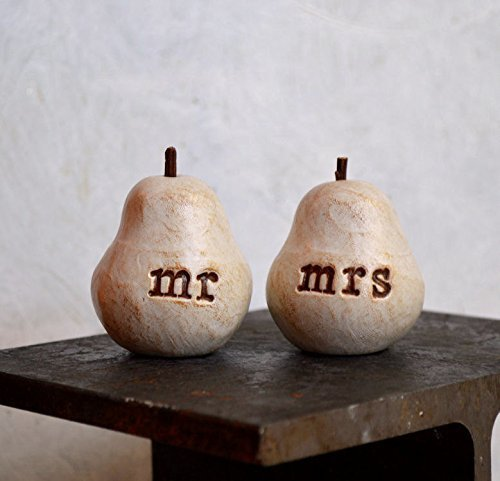 Pear Wedding Cake - Wedding cake topper ... Pair of Pears... vintage white mr mrs toppers ... perfect pair
