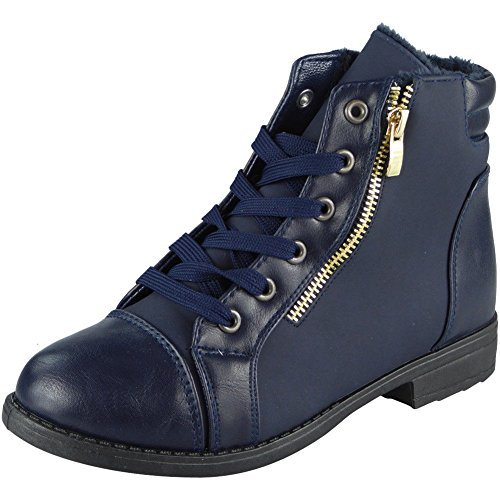 Loud Look Womens Ankle Zip Low Heel Army Work Biker Lace Up Flat Boots Size 3-8 Blue 7QJLg