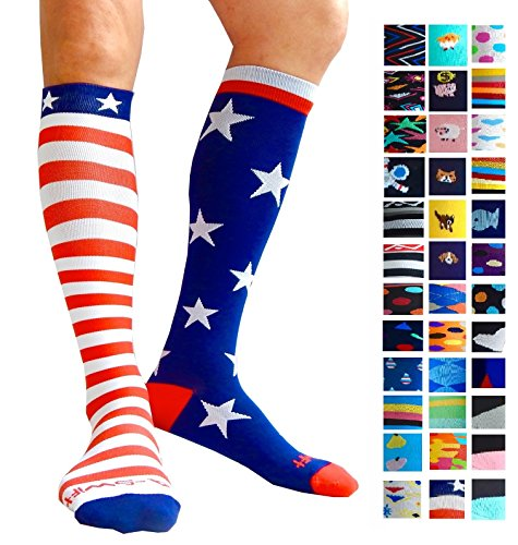 Compression Socks (1 pair) for Women & Men by A-Swift - Graduated Athletic Fit for Running, Nurses, Flight Travel, Skiing & Maternity Pregnancy - Boost Stamina & Recovery (Stars & Stripes, S/M)