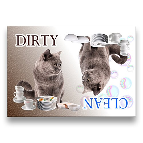 clean dirty dishwasher magnet cat - 9