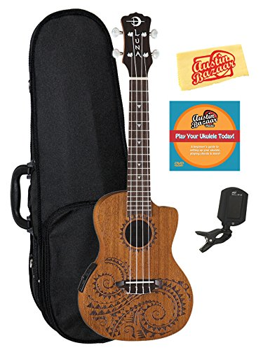 Luna Tattoo Mahogany Acoustic-Electric Concert Ukulele Bundle with Hard Case, Tuner, Austin Bazaar Instructional DVD, and Polishing Cloth