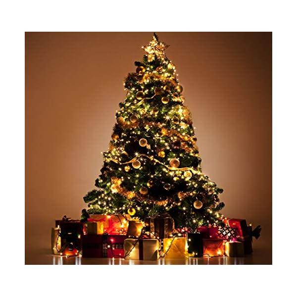 ANSIO Luci natalizie per interni e esterno 1000 LED albero luci Bianco Caldo, 8 modalità con memoria e funzione timer, alimentate, trasformatore incluso 25m Lunghezza illuminata- CAVO VERDE 6 spesavip