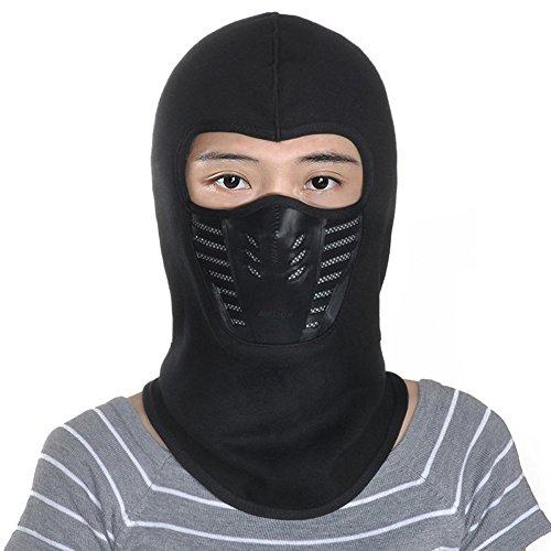 Leories Winter Fleece Windproof Ski Mask Warm Full Face Cover Anti-dust Balaclava Black