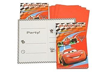 Set Einladungskarten Disney Cars + Umschlag Party Einladung Karte Lightning  Mc Queen Auto