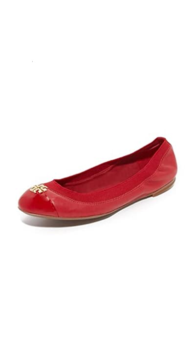Tory Burch Jolie Cap Toe Red Leather Ballet Flats (7)