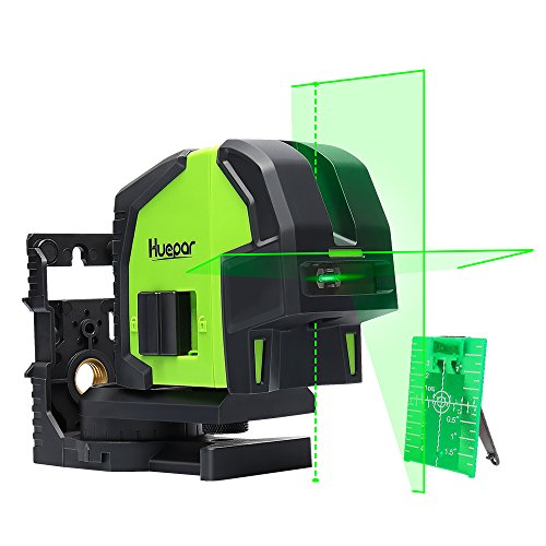 Cross Line Laser Level with 2 Plumb Dots- Huepar 8211G Professional Green Laser Beam Fan Angle of 130° Selectable Vertical & Horizontal Lines