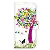 iPhone 6s Case, iPhone 6 Case, MADE IN JAPAN Wallet Case Cat Flower Tree for iPhone 6 & iPhone 6s