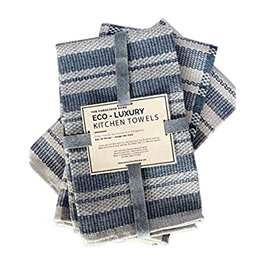 Eco Luxury Kitchen Towels, Upcycled Cotton and Denim, Set of 3, 20 x 26 in.