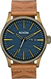 Nixon Men's 'Sentry Leather' Quartz Stainless Steel Casual Watch, Color:Brown (Model: A1052731)
