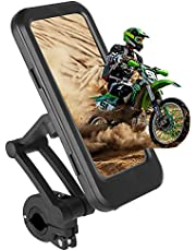 Bike Motorcycle Phone Mount, Waterproof Bicycle Cell Phone Holder Freely Adjustable Height and 360°Rotation for Any 4.7-6.7 Inch Smartphone GPS Navigation