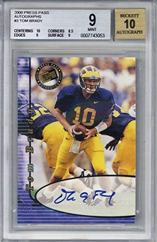Tom Brady Signed Auto 2000 Press Pass Autographs RC Card Beckett BGS 9 10 2000 Press Pass Autographs