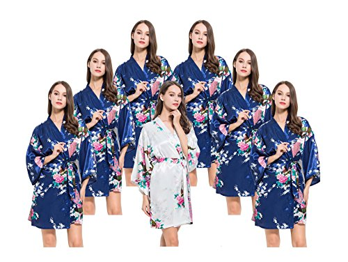 7 Floral Peacock Satin Bridesmaids Robes, OSFM fits Sizes 0-14, 6 Navy,1 White by Modern Celebrations