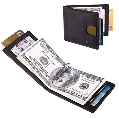 Front Pocket Wallets for Men Slim RFID Bifold Minimalist Money Clip Card Case -Made From Full Grain Leather Pabin(Charcoal Black)