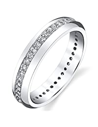 Metal Masters Co.® 4mm Sterling Silver 925 Women's Eternity Ring Engagement Wedding Band W/ Round Cut CZ